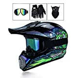 LEENY Motocross-Helm, Herren Motorradhelm mit Brille/Maske/Handschuhe, Motorrad Sports Off-Road DH...