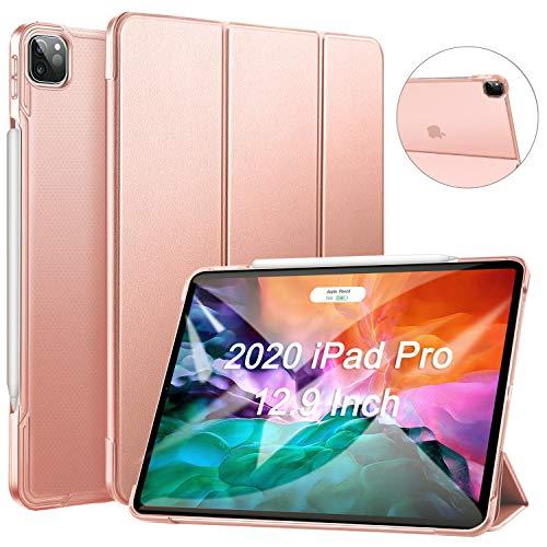ZtotopCase Hülle für iPad Pro 12.9 2020(4. Generation),Ultradünne Leicht PU Leder Smart Hülle mit PC Rückseite Abdeckung,Unterstützt Das Aufladen des iPad Pencil,für iPad Pro 12.9 Zoll 2020,Rosé