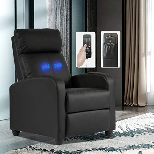 Recliner Full Body Massage Leather Chair for Adult,Ergonomic Adjustable Comfortable Read Oversized Lounge Chairs,Swivel with Arm Seating Single Sofa for Living Room Bedroom Office Black
