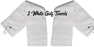 2 - White Tri-Fold Cotton Golf Sports Towels with Grommet - Includes Metal Clip, 16