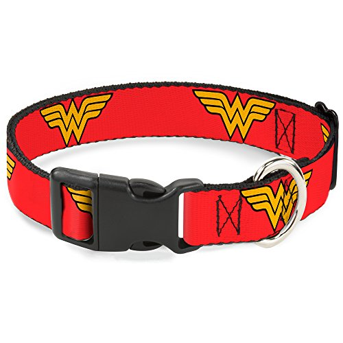 Buckle-Down Cat Collar Breakaway Wonder Woman Logo Red 6 to 9 Inches 0.5 Inch Wide