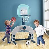 Basketball Hoop Set, 3-in-1 Kids Basketball Stand Sports Activity Center Adjustable Easy Score Baske...