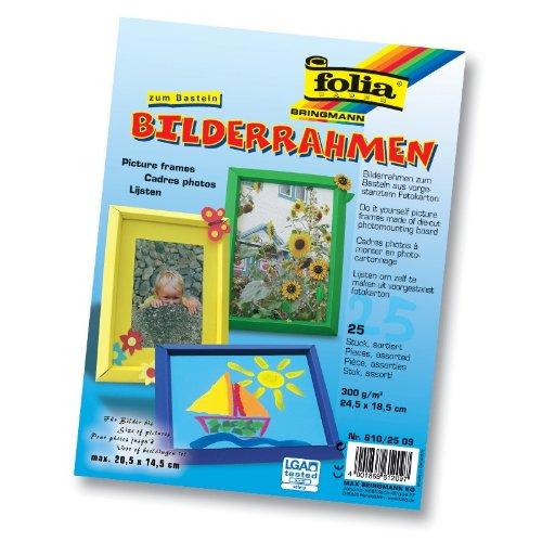 folia Bilderrahmen aus Fotokarton, 24,5 x 18,5 cm, 5 Farben, Mehrfarbig, 25-teilig (1 Set)