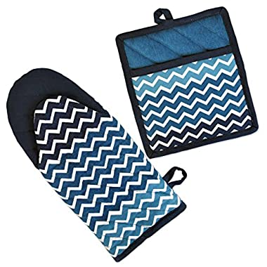 DII Cotton Ombre Chevron Oven Mitt 13 x 6  and Pot Holder 8 x 9  Kitchen Gift Set, Machine Washable and Heat Resistant for Cooking and Baking-Nautical Blue