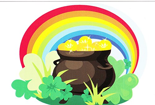 Pot of Gold, Rainbow and Shamrocks Celtic Postcard 4 by 6 Inches with Religious Eraser