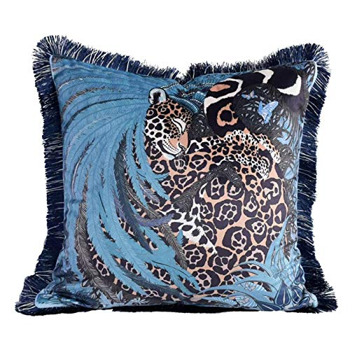 Irongarden A Sleeping Leopard Pillow Covers Blue Gray Tropical Leaves Feathers Soft Velvet Flannel Tassel Double-Sided Luxury Palace Style Cushion for Sofa Bedroom 18 x 18 Inch.