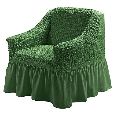 XMJFDMAI Funda de silln Fundas de sof,Protector Multiusos para Muebles, 1 Pieza, fácil de Montar, Funda para sofá, Universal, de Gran Elasticidad con Falda, Estilo campestre, Verde Oscuro_S