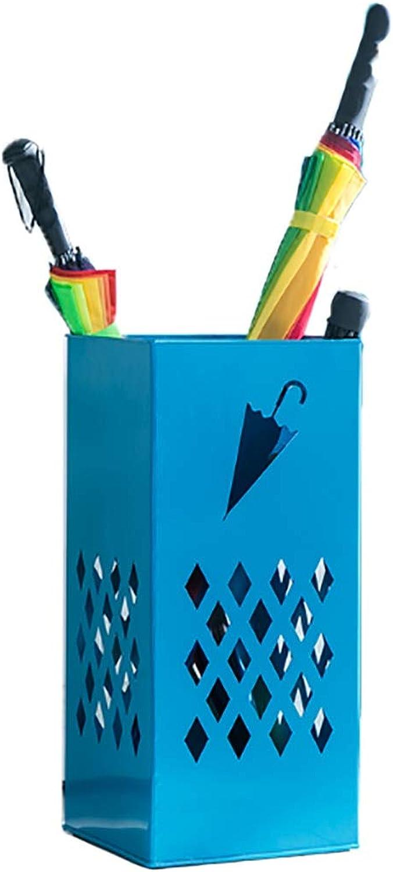 Metal Umbrella Stand bluee Household Umbrella Storage Rack - Balcony Coffee Shop Decorative Umbrella Barrel (color   bluee)