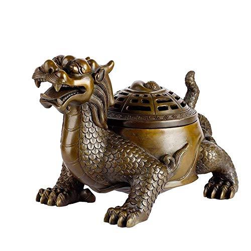 MEELLION Drache Turtle Ornament, Tier Weihrauch Brenner Handwerk, Feng Shui Ornamente, Glück Kupfer Schildkröte für Wohnzimmer Wohnkultur Schreibtisch Dekoratives Zubehör Love of a Lifetime