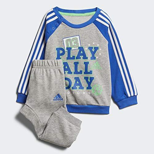 adidas adidas Baby Graphic Jogger French Terry Trainingsanzug, Medium Grey Heather/Blue/White/Energy Green, 104