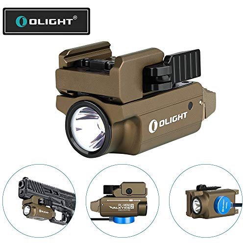 OLIGHT PL-Mini 2 Valkyrie 600 Lumens Magnetic USB Rechargeable Compact Weaponlight with Adjustable Rail (Desert Tan)