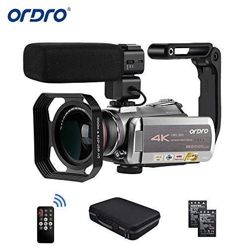 Videocamera 4K 30fps ORDRO Videocamera Vlog Full HD 1080p 60fps IR Night Vision Videocamera WiFi con Microfono, Luce LED, Obiettivo Grandangolare