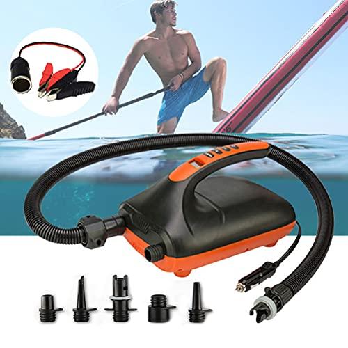 1 juego de alta presión 20PSI SUP bomba de aire eléctrica de doble vía bomba de inflado de 12 V CC con 6 boquillas adecuadas para tablas de remo inflables, kayak