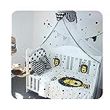 6Pcs Algodón Espesar Almohadillas de parachoques Acolchado Cubierta de riel de cuna vertical Niños Niñas, Juego de cama pequeños, Protector de la barandilla de la cama, Protector dentición cuna