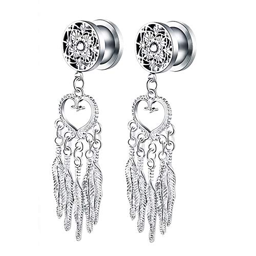 TOPBRIGHT Surgical Steel Tree of Life Feather Dangle Plug Earring Flesh Ear Gauges Ring Tunnels