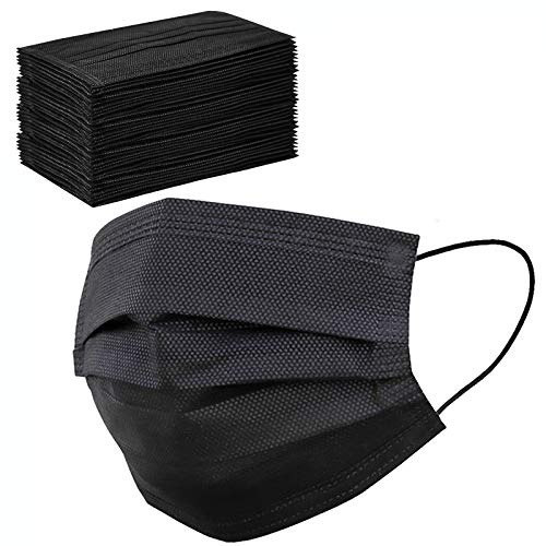 Disposable Face Masks Black 3 Layers Breathable and Comfortable Elastic Ear Loop,(Pack of 50 PCS)
