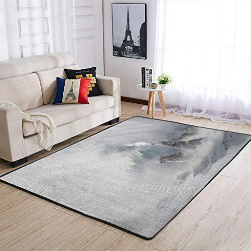 COMBON Shop Durable Wolf Area Rugs Super Lindo - Alfombras para sala de estar, para guardería, 122 x 183 cm, color blanco