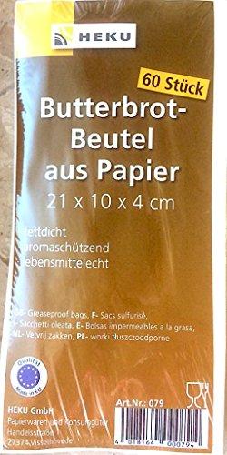 HEKU 079 Butterbrotbeutel 10x21cm Brotbeutel Papier 60 Stück