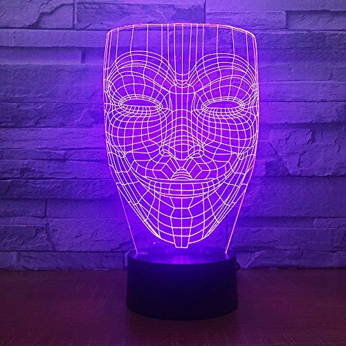 Abstrakter menschlicher KopfSchöner Schmetterling 3D Eishockey Lampe LED Nachtlicht mit Fernbedienung, 7 Farben Wählbar Dimmbare Touch Schalter Nachtlampe Geburtstag Geschenk
