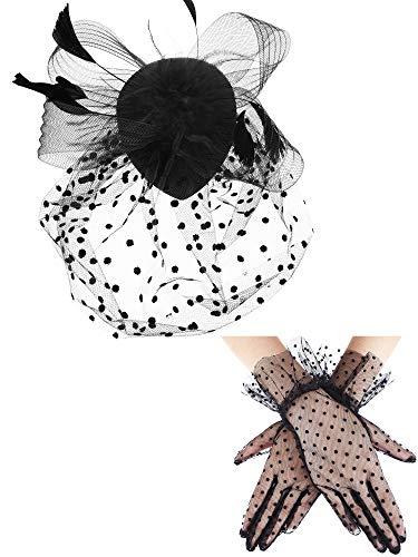1950s Vintage Fascinator Hat Faux Feather Mesh Net Hat Cocktail Tea Party Headwear and Women Short Lace Gloves (Elegant Style) Black