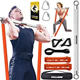 TESLANG Resistance Band Bar, Heavy Resistance Bands with Bar for Men, 500 LBS Strength Training Bars for Chest Press Deadlift Squats Curl, Workout Bands with Handles, Portable Home Workout Equipment