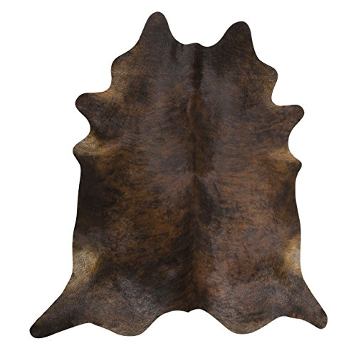 Dark Brindle by Rodeo Cowhide Rug Hair on Cowhide Leather Rug Great Decoration Essential Western Decor Must Have (6X6)