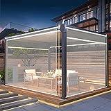 Persiana Enrollables Bambú Cortinas Enrollables Transparentes de Pérgola al Aire Libre, 60cm / 80cm / 100cm / 120cm / 140cm de Ancho, Protector de Estornudo de Plástico para Tienda / Hotel / Oficina,