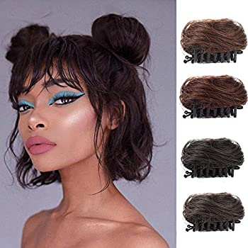 Claw Clip in Messy Hair Bun 2PCS Cat Ears Hair Donut Chignon Mini Claw Clip in Updo Bun Extensions Wig Accessory Ponytail Hairpieces for Women and Girls Black
