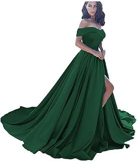 فساتين حفلات التخرج 2021 من الساتان فستان زفاف طويل بفتحة بدون كتف