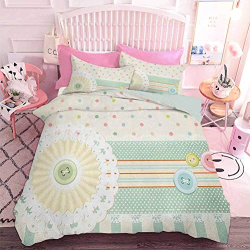 Hiiiman 3 Pcs Duvet Covers Sewing Theme Border with Button Floral Patch Traditional Lace Like Dots Print (3pcs, King Size) with 2 pillowcover