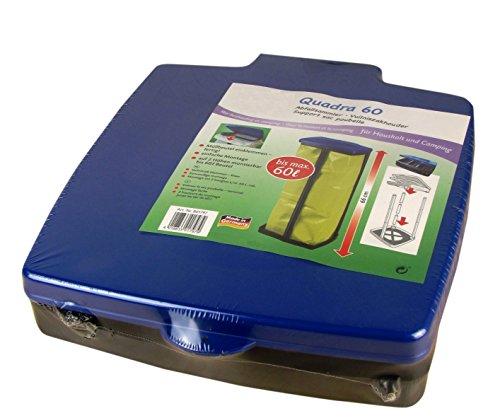 SCHULZ Müllsackständer mit Deckel - Für Müllsäcke bis 60 Liter - 3-Fach höhenverstellbar - Müllsackhalter - Abfallbehälter - Abfallsammler für Haushalt oder Camping (Blau)