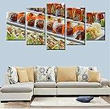 bbjiaobb Navidad Modular HD Print Wall Art Painting 5 Panel Japanese Cuisine Delicious Sushi Poster Canvas Kitchen Home Decor