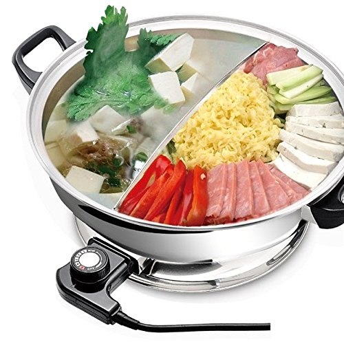 Great Deal! YONGXIN Electric Hot Pot JH-160B-30cm with Divider 304 Stainless Steel, 1400 W