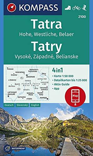 KOMPASS Wanderkarte Tatra, Hohe, Westliche, Belaer, Tatry, Vysoké, Západné, Belianske: 4in1 Wanderkarte 1:50000 mit Aktiv Guide und Detailkarten ... Skitouren. (KOMPASS-Wanderkarten, Band 2100)