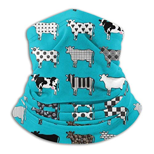 Lawenp Turquoise Cows Seamless Bandanas Face Scarf Headband Scarf Headwrap Neckwarmer for Outdoors Raves Sports Running Cycling