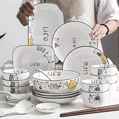 Platos Juego de vajillas para el hogar Cuenco creativo estilo nórdico estilo lindo gato vajilla combinación de cerámica Jingdezhen hueso China 29 piezas