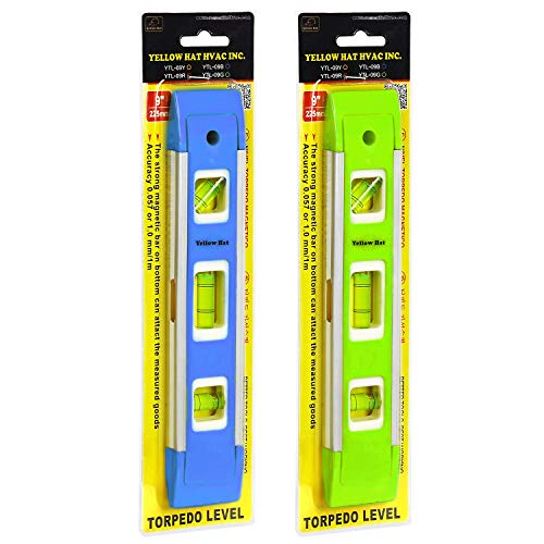 2-Pack Aluminum-Sided Torpedo Level, 9 Inch Level Spirit Bubble level with Overhead Viewing Slot(Blue/Green)