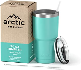 Arctic Tumblers Stainless Steel Camping & Travel Tumbler with Splash Proof Lid and Straw, Double Wall Vacuum Insulated, Premium Insulated Thermos (30 oz Tumbler, Matte Turquoise Powder Coat)