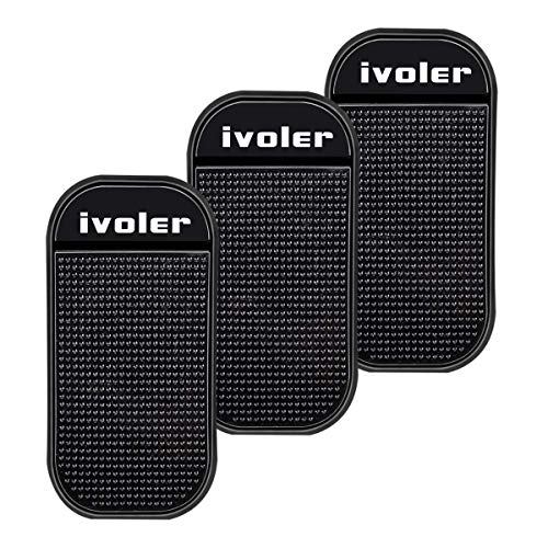 iVoler [3 Pezzi] Tappetino Antiscivolo appiccicoso, Anti-Slip Sticky Mat Universal Car Dash Pad Phone Holder for Mobile Phones, Keys, Coins -Black (3.26 * 5.55)