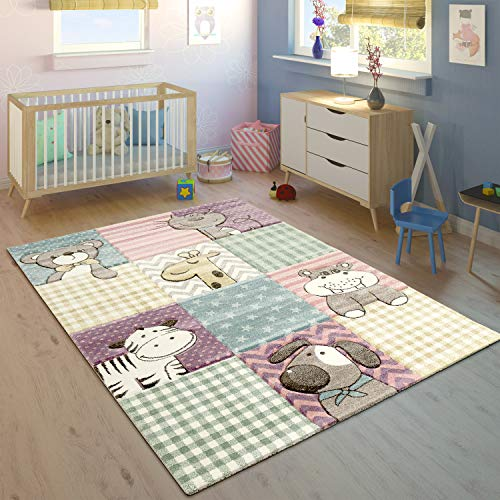 Paco Home Kinderteppich Bunt Pastellfarben 3-D Karo Muster Tier Design Weich Kurzflor, Grösse:140x200 cm