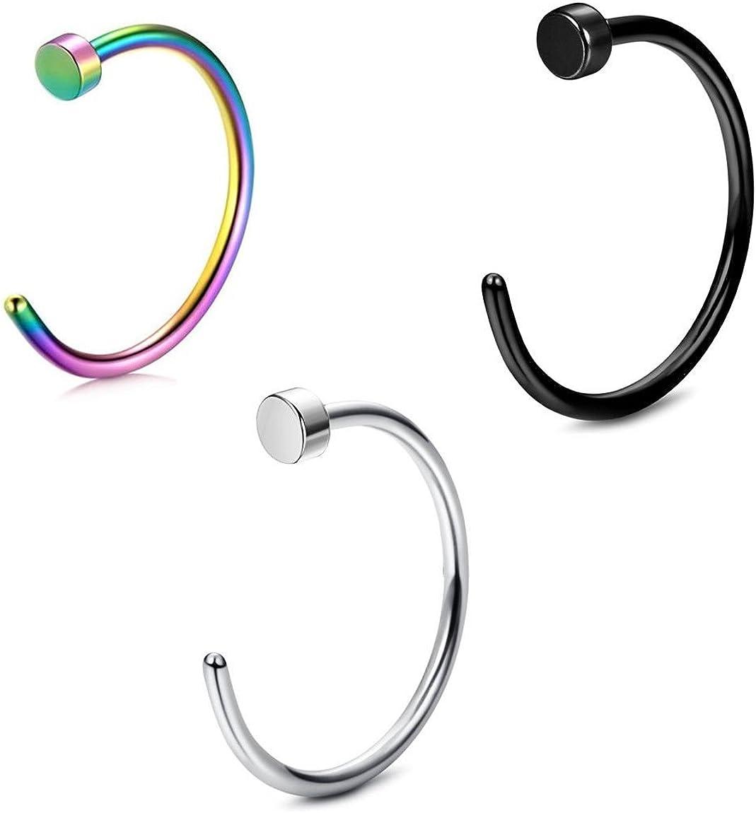 BodyJewelryOnline Nose Hoop Ring Pack of 3 Black, 18g and 20g Al