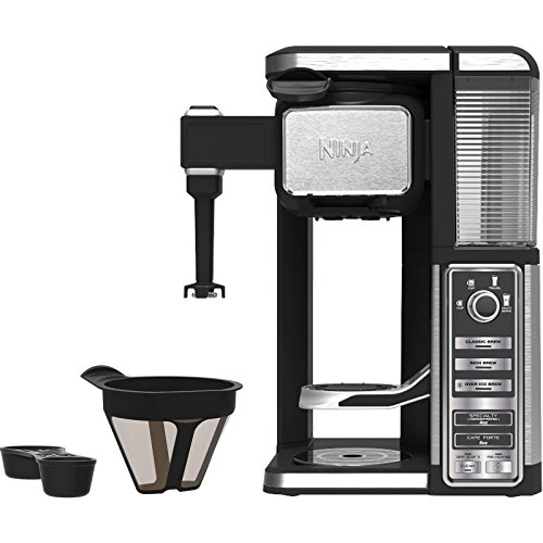 Ninja Single-Serve, Pod-Free Coffee Maker Bar with Hot and Iced Coffee, Auto-iQ, Built-In Milk Frother, 5 Brew Styles, and Water Reservoir (CF111) (Renewed)