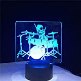 Instrumento Musical Jazz Drum Set 7 Cambio De Color Lámpara De Escritorio 3D Led Luz De Noche Decoración Regalo-Con Mando A Distancia