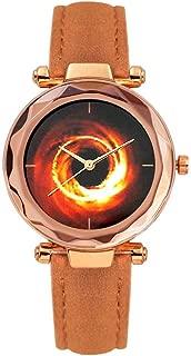 Women Black Hole Quartz Watch Girls Leather Strap Pointers Scales Dial Wristwatch Geometric Surface