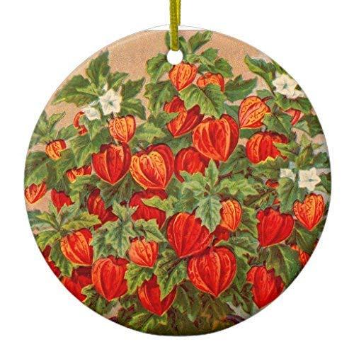 Cukudy Chinese Lantaarn Plant Kerstmis Ornament Keramische Cirkel 3 inch