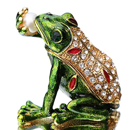 Waltz&F Kiss pearl frog Trinket Box Hinged Hand-painted Animal Figurine Collectible Ring Holder