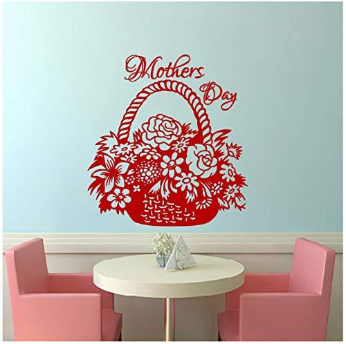 chuangyue Día De La Madre Vinilo Arte De La Pared Murales Cesta Flores Corazón Etiqueta De La Pared Decoración Sala De Estar Dormitorio Tatuajes De Pared 33X30Cm