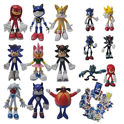 Traje de Sonic Un conjunto de nueve figuras grandes + un conjunto de seis figuras pequeñas Super Sonic Erizo Supersonic Mouse Hand Office