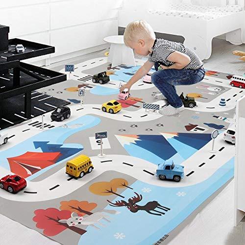 Spielteppich, Karte Des Kinder-Verkehrsparkplatzes, Pädagogische Spielmatte Für Straßenverkehr Mit 8 Autospielzeugen Und 18 Verkehrszeichen