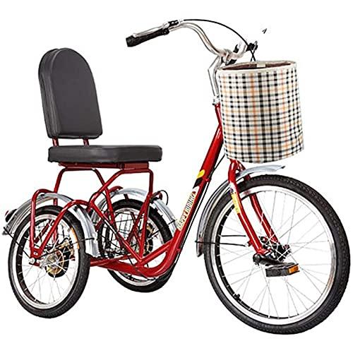 zcyg Triciclo Tricycle Triciclo Pedal Adulto Tres Ruedas Bicicletas De 20 Pulgadas Cruiser Bicicleta Triciclos para Personas Mayores con Cesta De Compras Ejercicio para Hombres De Hombre, Rojo